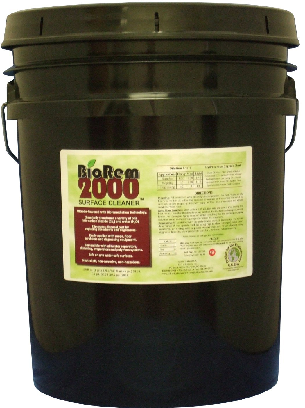 Clift Industries 8008-005 BioRem-2000 Surface Cleaner, 5-Gallon Bucket