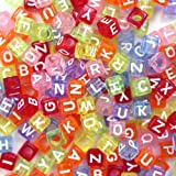 """Goodlucky365 500pcs Beads Letter Beads Mixed Assorted Translucent Color Acrylic Plastic Beads Alphabet Beads for Jewellery Making """"A-z"""" Cube Beads Size 6x6mm or 1/4"""" for Bracelets, Necklaces, Key Chains and Kid Jewellery"""