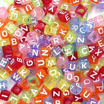 15bbf1dad9e2 500 Piezas Abalorios Letras Cuentas de Plástico Abalorios de Colores  Traslúcidos Perlas de Alfabeto  quot