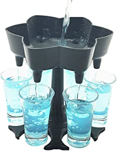 Upgraded 6 Shot Glass Dispenser and Holder(Including 6 Shot Glasses), Beverage Dispensers, Cocktail Dispenser, Bar Shot Dispenser, Carrier Liquor Dispenser Gifts Drinking Tool(Gray)