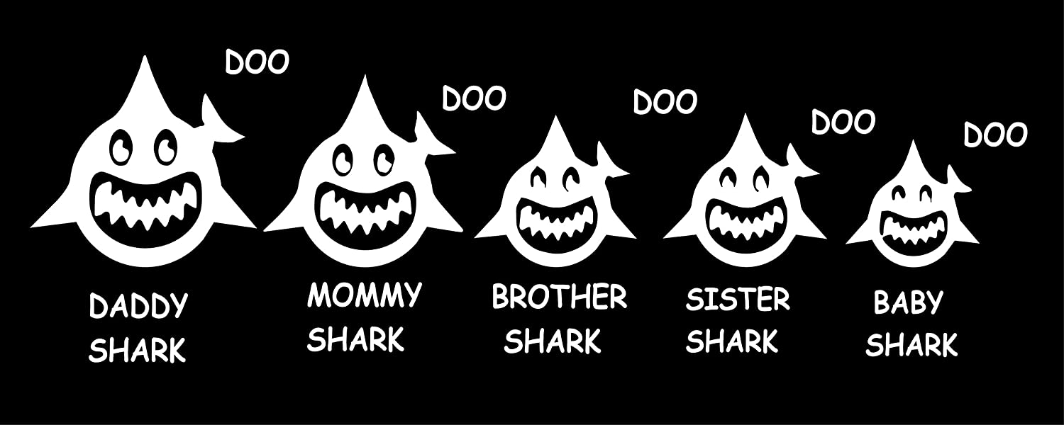 """Maple Enterprise Baby Shark Doo Doo Mommy Daddy Brother Sister and Baby Shark Family Vinyl Decal Sticker for Car Laptop Wall Room Decoration 12""""x 4"""" (White)"""