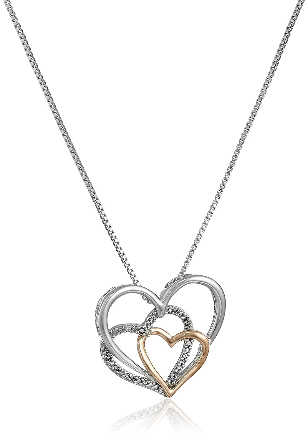 29ab7a2887 Amazon.com: Sterling Silver and 14k Rose Gold Diamond Accent Triple Heart  Pendant Necklace,18