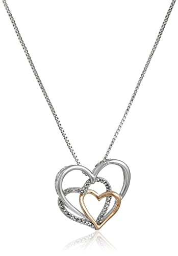"""Sterling Silver and 14k Rose Gold Diamond Accent Triple Heart Pendant Necklace,18""""的图片搜索结果"