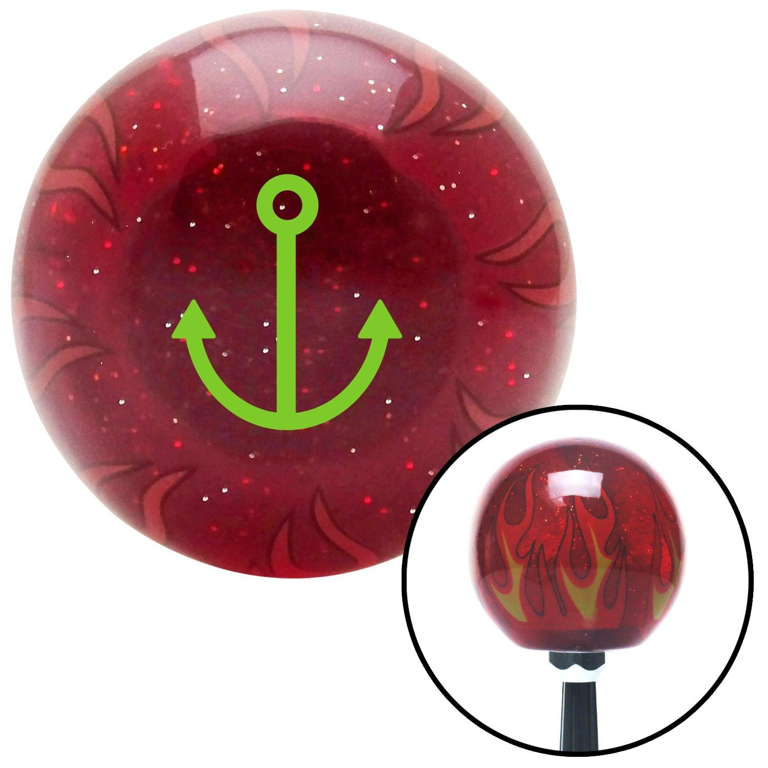 American Shifter 241743 Red Flame Metal Flake Shift Knob with M16 x 1.5 Insert Green Anchor Design