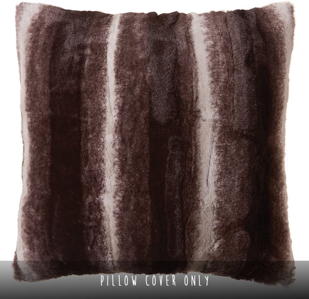 """North End Decor Faux Fur 18""""x18"""" (Cover Only), Mink Brown White Striped Plush Throw Pillows, 18x18"""