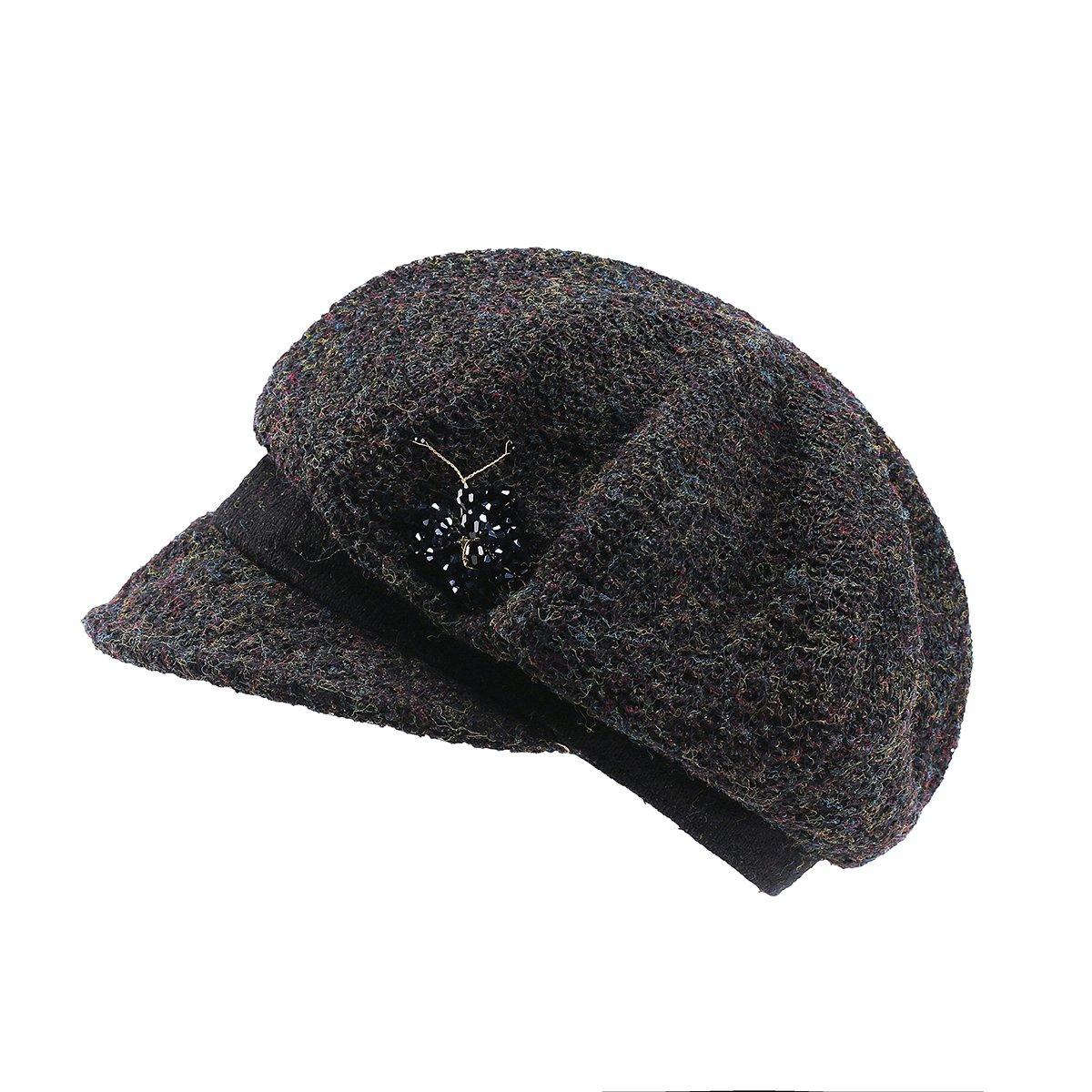 12bab749a0b51 Amazon.com  JOOWEN Knitted Textured Crochet Slouchy Newsboy Cap Cabbie Beret  Visor Bill Hat (Black)  Clothing