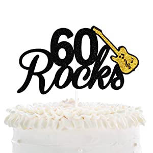 60 Rocks Birthday Cake Topper - Fabulous Sixty Years Anniversary Black Glitter Guitar Cake Décor - Cheers To Successful Man Women 60th Birthday Party Decoration