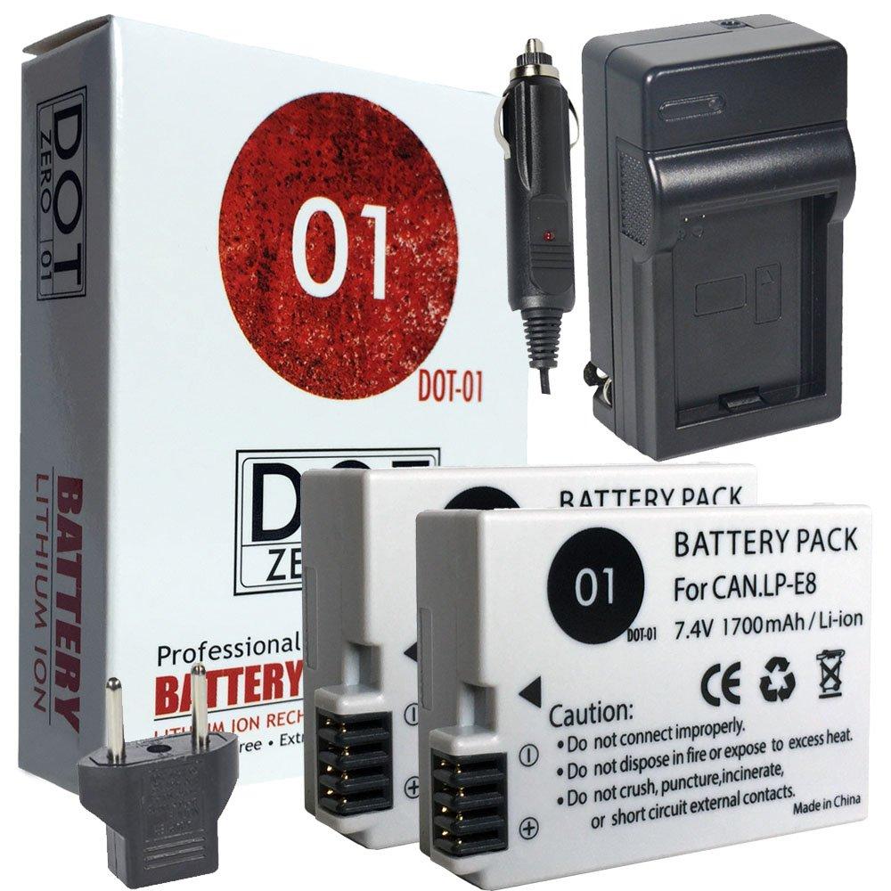 2 x dot-01 marca 1700 mAh sustitución Canon LP-E8 baterías y ...