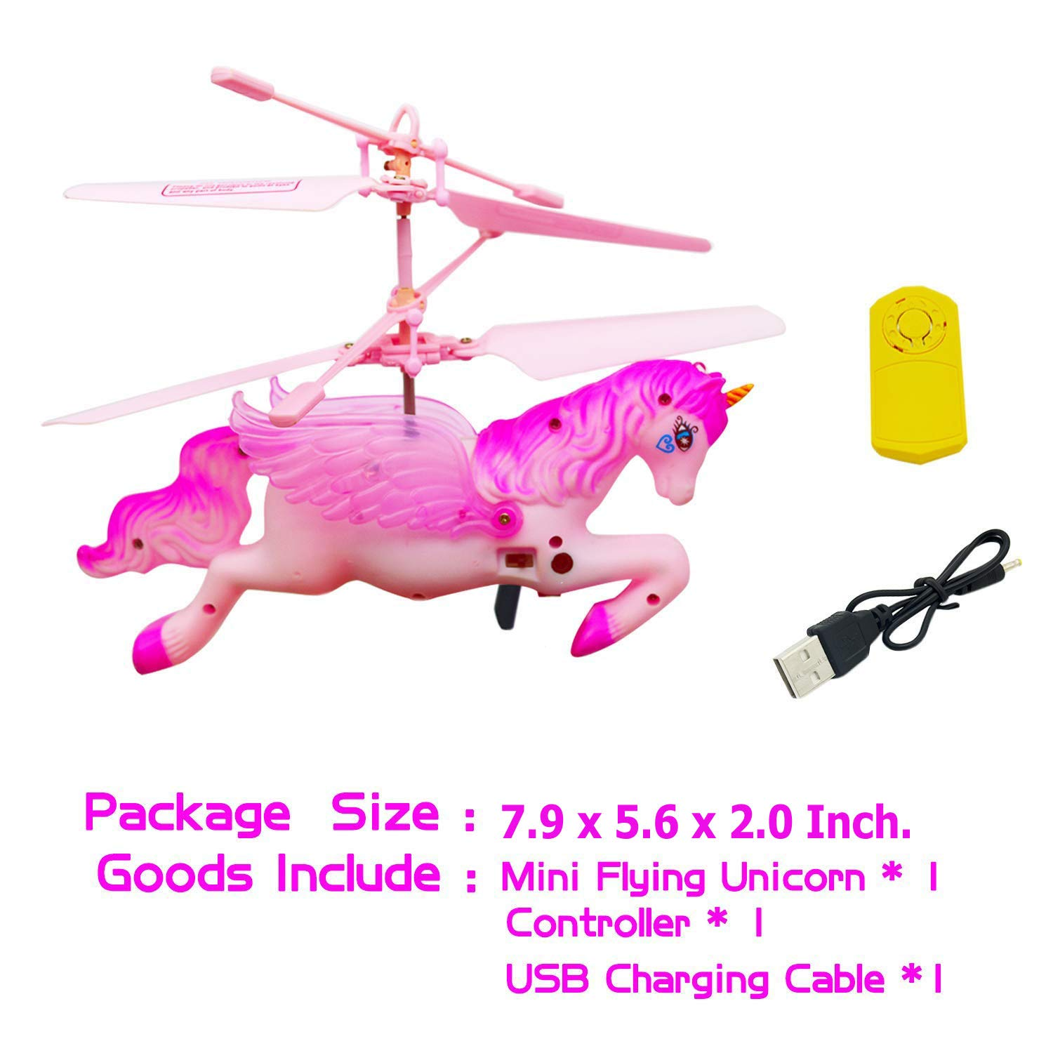 CJWPOWER Unicorn Toys, Pink Mini Flying Helicopter Unicorn Toy Gifts for Little Girls 6 Years Old Up Birthday Xmas Party Supplies by CJWPOWER (Image #5)