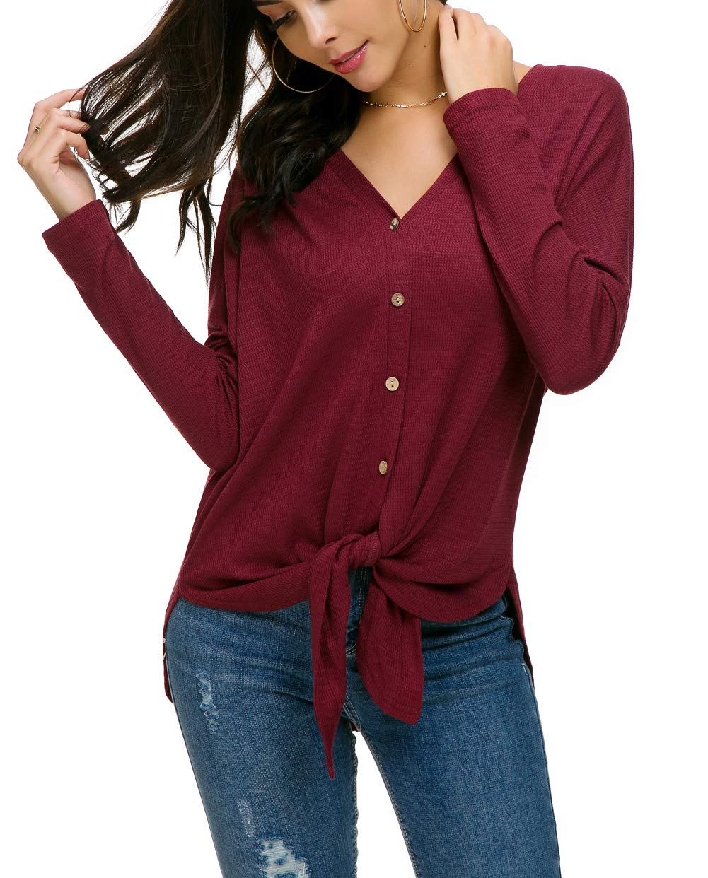 7cfae3d353d6a3 IWOLLENCE Womens Waffle Knit Tunic Blouse Tie Knot Henley Tops Loose ...