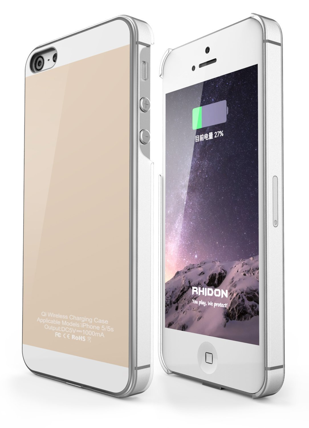 iPhone 5 5s SE Qi Wireless Charging Case Back Cover Flexible Lightning Connector 1A Upgrade Rose Gold iPhone 5 5S SE Wireless Receiver Case
