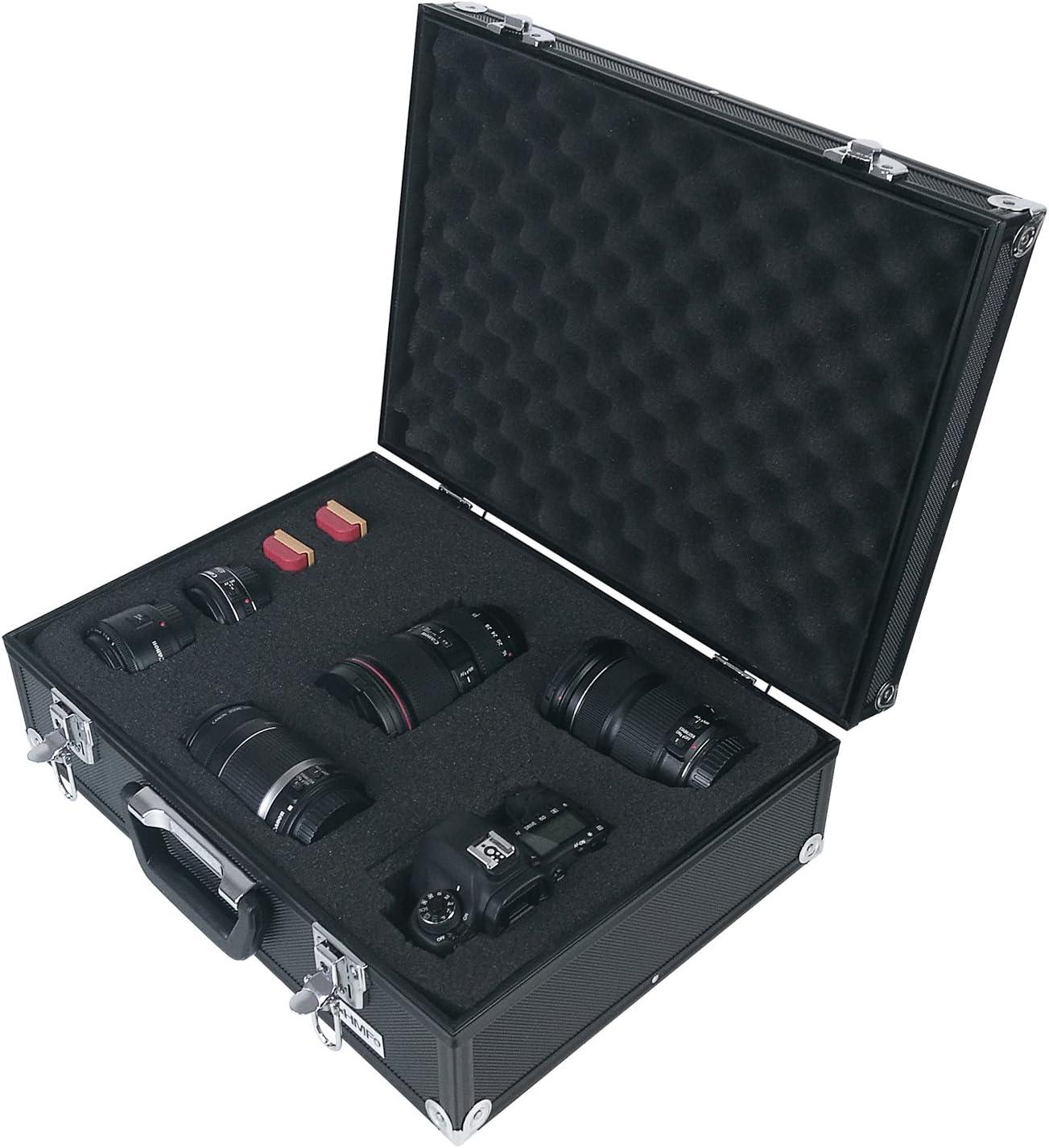 HMF 14501-02 Maletín de Aluminio con Espuma para Cámaras de Fotos y Armas | 46 x 33 x 15 cm | Negro