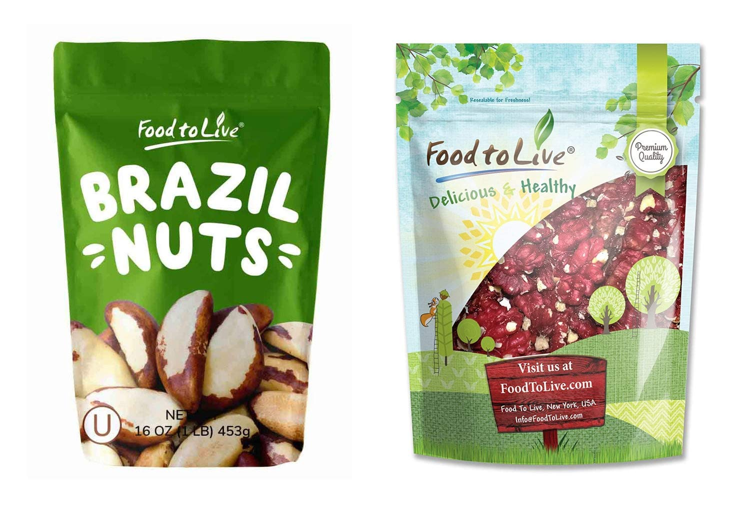 Raw Nuts Bundle - Raw Brazil Nuts, 1 Pound and California Red Walnuts, 1 Pound - Raw, No Shell, Kosher, Unsalted, Natural, Vegan