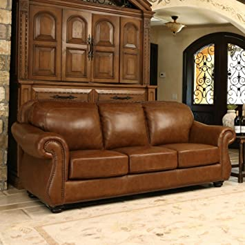 Abbyson Living Erickson Top Grain Leather Sofa In Camel Brown