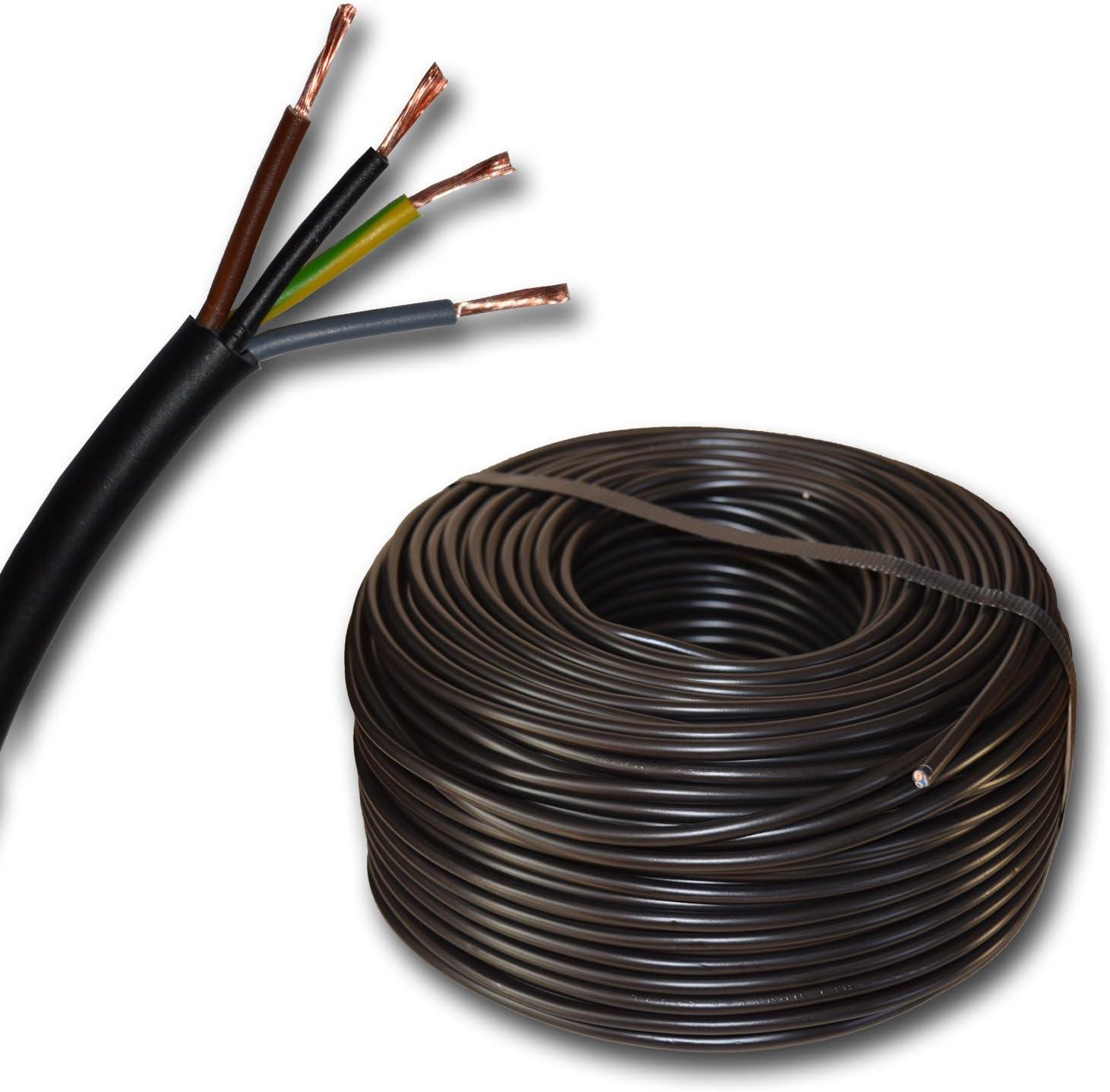 fino a 250 m in 5 metri. Tubo flessibile rotondo in plastica con cavo LED H03VV-F 4 x 0,75 mm2 mm2 4G0,75 Colore: nero 10 m//15 m//20 m//25 m//30 m//35 m//40 m//45 m//50 m//55 m//60 m ecc