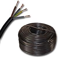 Plast slangledning rund LED kabel kabel enhet kabel H03VV-F 4 x 0,75 mm² (mm2) 4G0,75 – färg: svart 10 m/15 m/20 m/25 m…