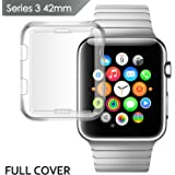 Apple watch series 3 case 42mm, IOVECT iwatch 3 Case TPU All-around 0.3mm Ultra-thin Soft High Transparency Full Cover for New Apple Watch Series 3(2107)