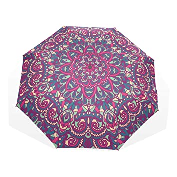EZIOLY Hippie Mandala Floral Viaje Paraguas Ligero Anti UV Sun Rain Umbrella para Hombre Mujer Niños