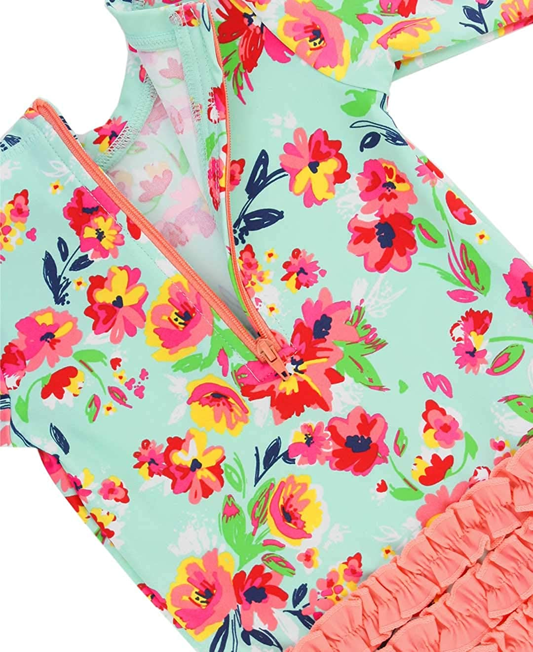 3-6m RuffleButts Baby//Toddler Girls Long Sleeve One Piece Swimsuit Painted Flowers with UPF 50 Sun Protection