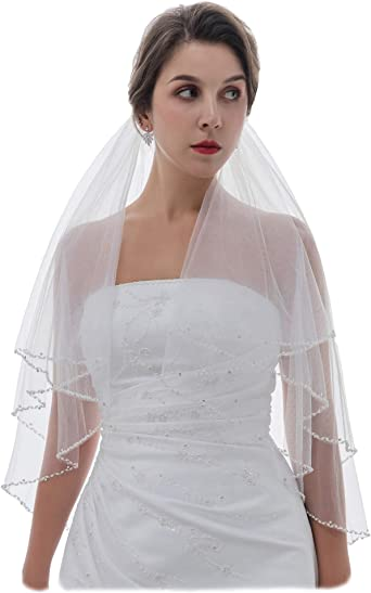 2T Ivory Bridal Veils Embroided Pearl Crystal Beaded Wedding Veils w// Dual Edge