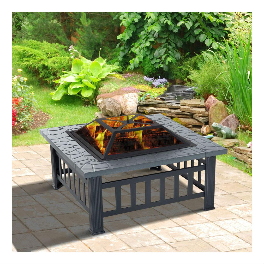 32'' Outdoor Patio Firepit Fireplace Stove Heater Metal Square Wood Burning by Unknown