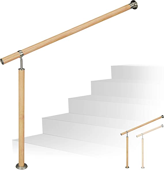 Relaxdays Pasamanos Escalera, Interior y Exterior, Ø 42 mm, 90 cm Alto, Aluminio-Acero Inoxidable, 1 Ud, 80 cm, Marrón: Amazon.es: Hogar