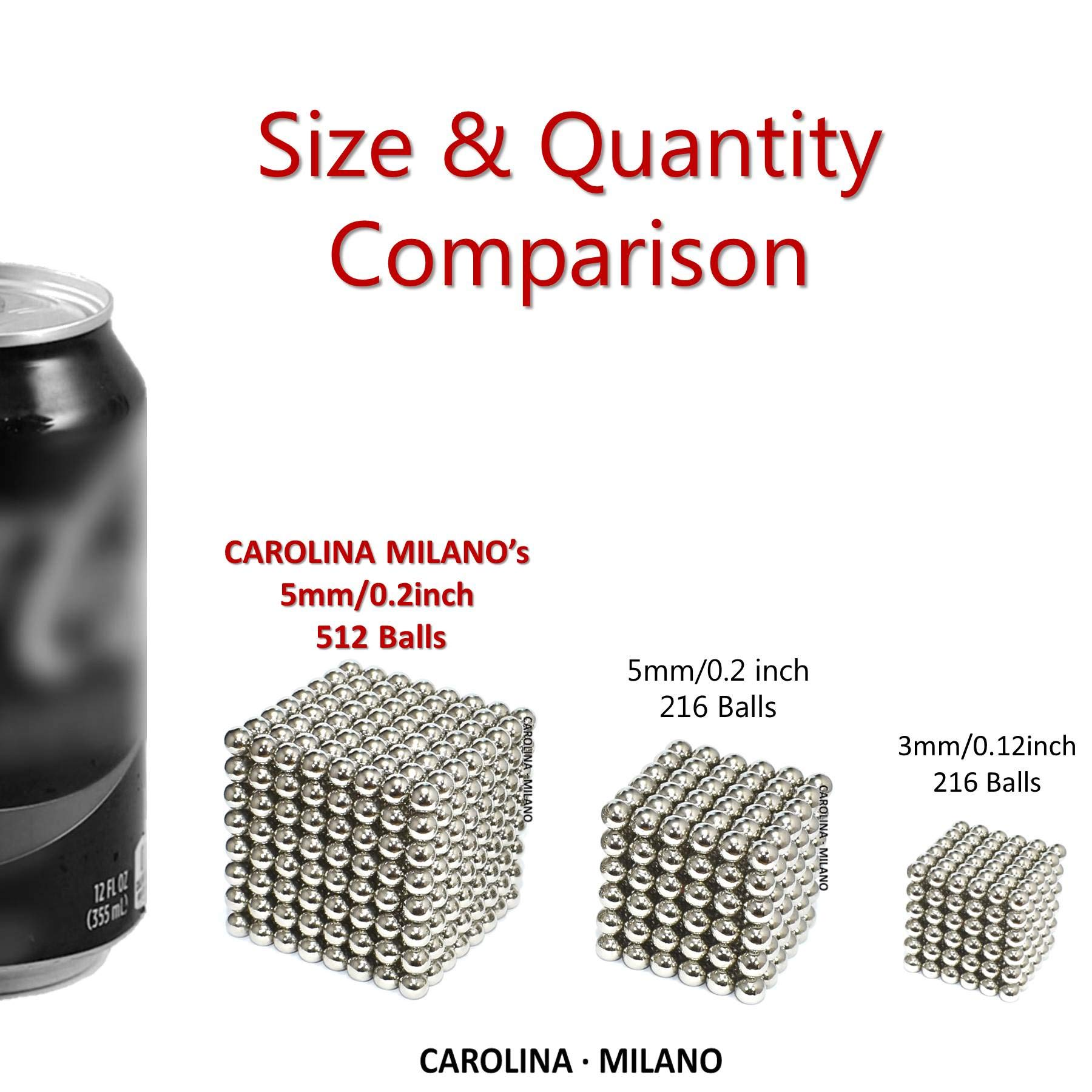 512 pieces Large 5mm Magnetic Balls Building Blocks Sculpture Magnets Educational game Office Magnet Toy Intelligence Development Stress Relief Imagination gift family (set of 216pcs x2 + 80 balls) by CAROLINA MILANO (Image #5)