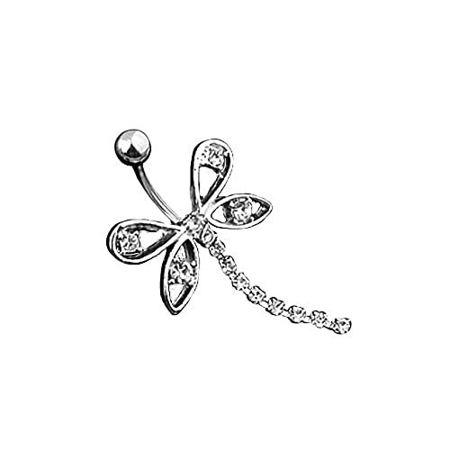 Bauchnabelpiercing Silber Piercing Stecker Anhänger Libelle Kristalle Weiß