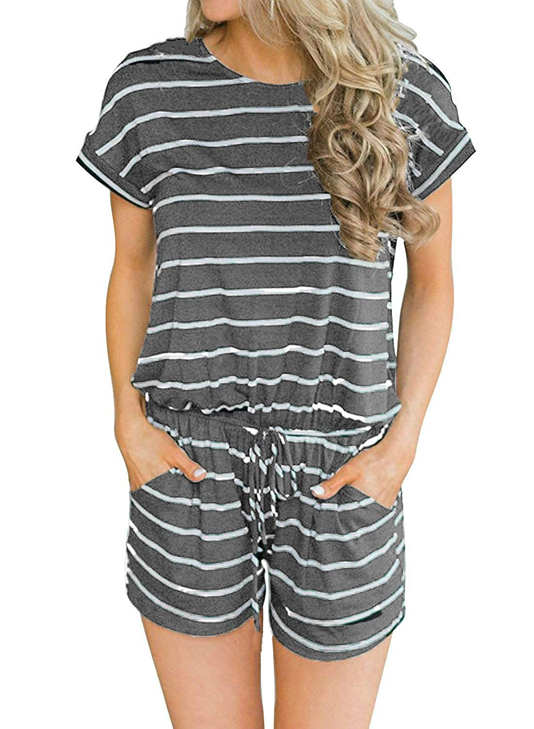 01darkgrey Striped Artfish Women's Summer Striped Jumpsuit Casual Loose Short Sleeve Jumpsuit Rompers
