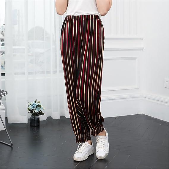 Pantalones Damas Verano Rayas Impresas Pantalones Sueltos Mujer Cintura  Alta Delgado Pololos Largo Playa Pantalón Harem Resistente al Sol (Amarillo)   ... 646941c09f06