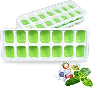 Ice Cube Trays 3 Pack, Silicone Ice Cube Tray with Lid, 42 Ice Cubes Molds Easy Release Stackable Covered Crushed Craft Ice Cube Trays No Spill for Cocktails Baby Food