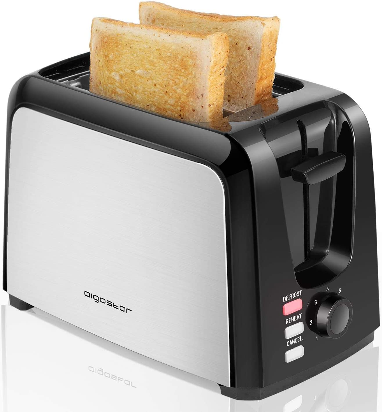 Aigostar Totoro - 2 Slice Toaster, Toasters with 2 Wide Slots, Compact Brushed Stainless Steel Toasters with Pop Up Reheat Defrost Functions, 7-Shade Control & Removable Crumb Tray (Renewed)
