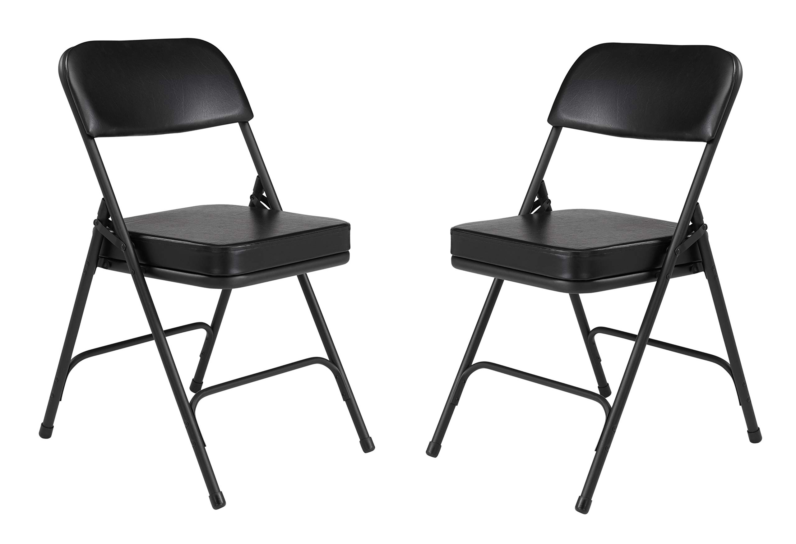(2 Pack) NPS 3200 Series Premium 2'' Vinyl Upholstered Double Hinge Folding Chair, Black by National Public Seating