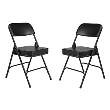 (2 Pack) NPS 3200 Series Premium 2  Vinyl Upholstered Double Hinge Folding Chair, Black