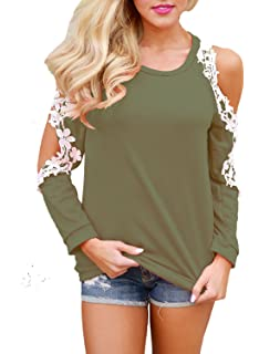 371804c225edc Elapsy Womens Casual Floral Lace Trim Crochet Cold Shoulder Long Sleeve  Tops Blouses