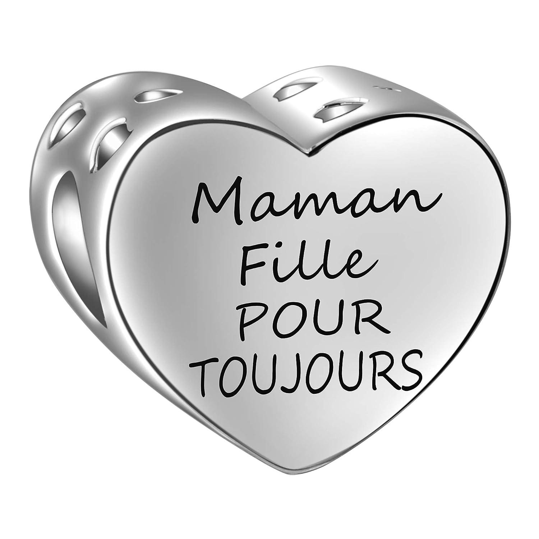 SIMPORDS Charm M/ère Femme Grav/é C/œur Cadeau pour Maman ou Fille