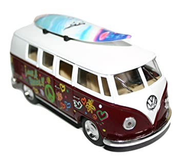 Kinsmart Volkswagen VW 1962 Classic Bus Love Peace Hippy Camper con Tabla de Surf Escala 1:32: Amazon.es: Juguetes y juegos