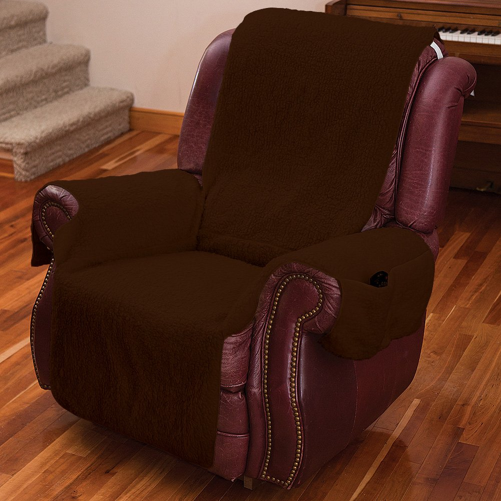 (Brown) Recliner Chair Cover One Piece w/Armrests and Pockets One Size Fits Most B00OZOSPO0ブラウン