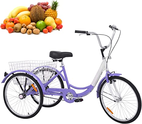 H&ZT bicicleta de triciclo de 3 ruedas para adultos con cesta ...