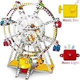 Ferris Wheel Building Kit with Lights & Music Box, DIY Sky Wheel Model Set Metal Beams and Screws