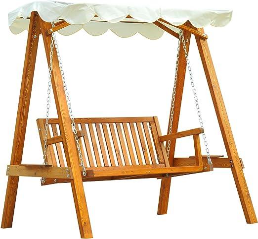 Homcom Banco columpio estilo balancín, para jardín, 2 plazas, madera de pino(capacidad máx.: 300 kg): Amazon.es: Jardín