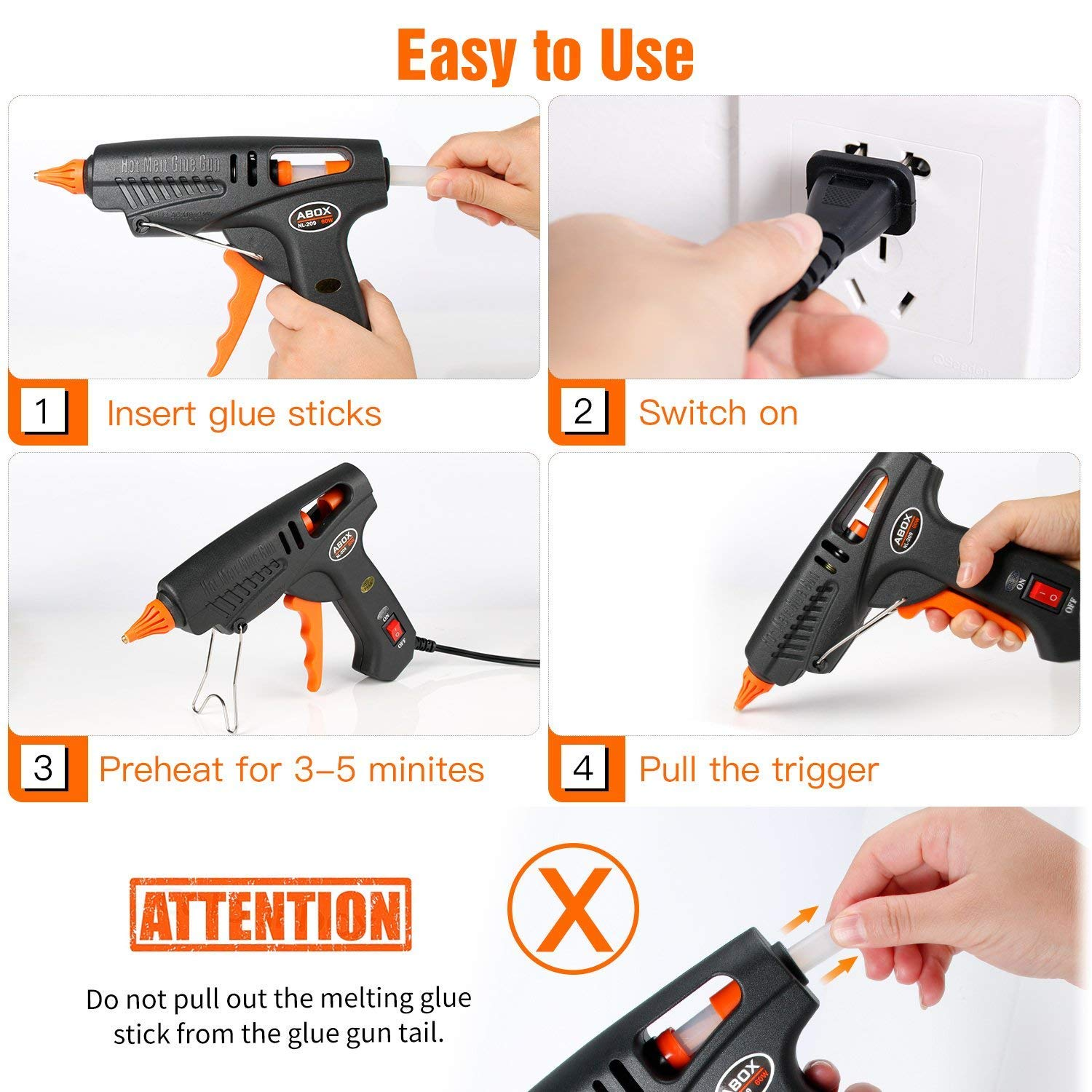 Hot Glue Gun, ABOX 60W Thermostat Hot Melt Glue Gun, Rapid Preheating with PTC Heating Technology,15 Pcs Premium Glue Sticks,Copper Nozzle and ON-Off Switch, DIY Arts &Crafts Projects, Quick Repairs by GooBang Doo (Image #6)