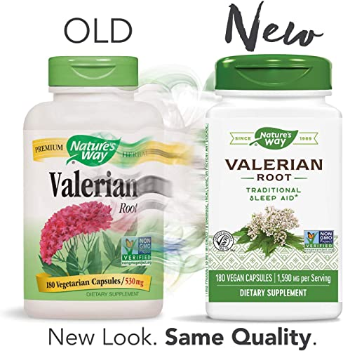 Nature s Way Valerian Root, 1,590 mg, 180 Vegetarian Capsules, Pack of 2