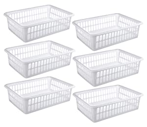 "Zilpoo 6 Pack - Plastic Storage Organizing Basket, Cabinet Shelf Kitchen Drawer Refrigerator, Freezer Organizer Bins, 15"" x 10"", White"