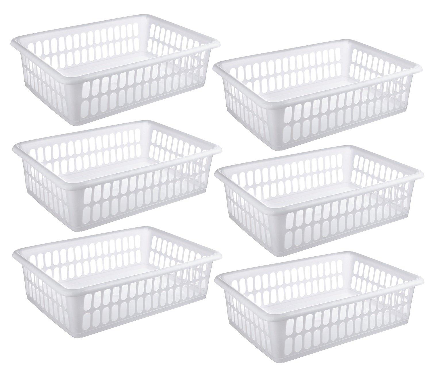 Zilpoo 6 Pack - Plastic Storage Organizing Basket, Cabinet Shelf Kitchen Drawer Refrigerator, Freezer Organizer Bins, 15'' x 10'', White by Zilpoo (Image #1)