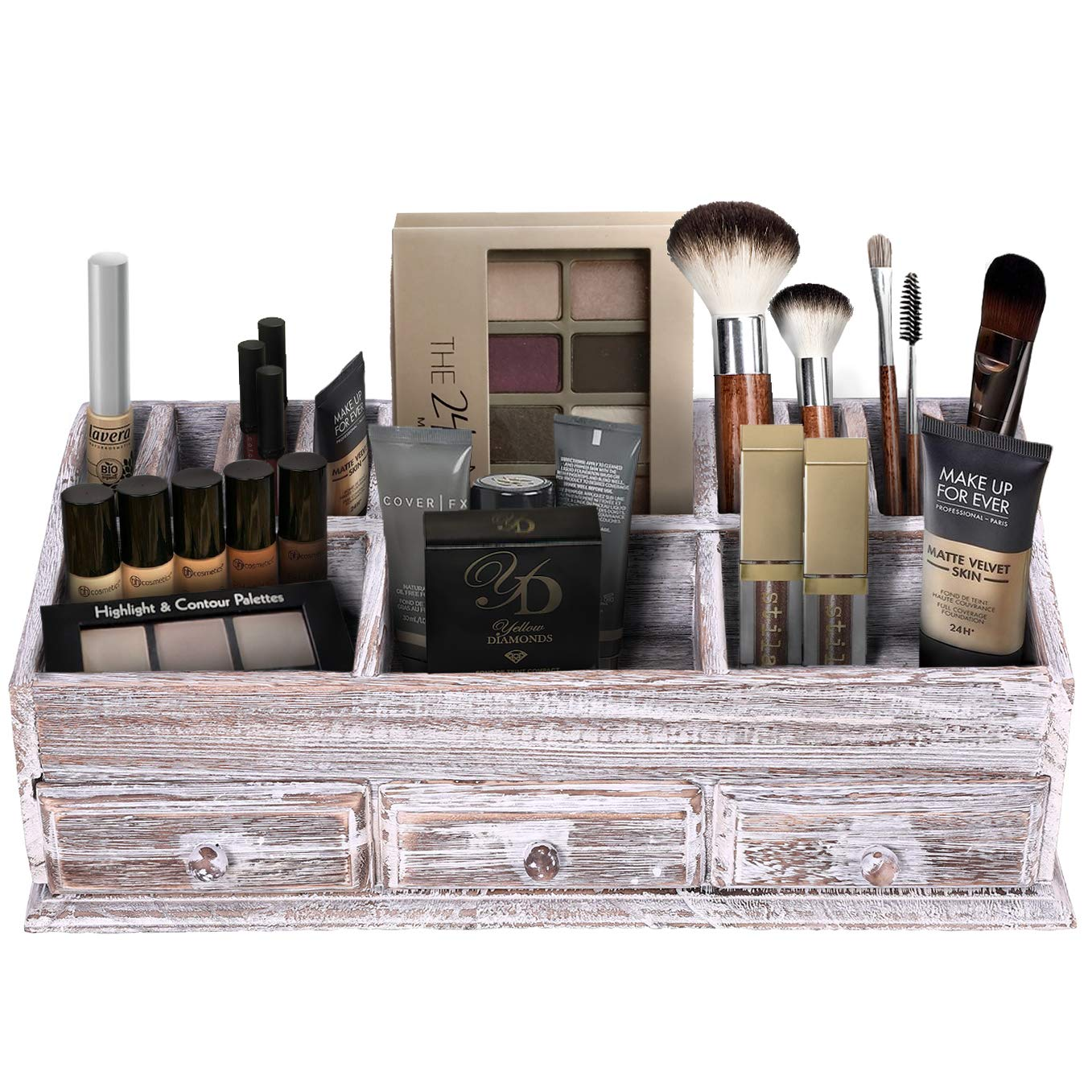 Admirable Rustic Wooden Desk Organizer For Home Or Office Makeup Organizer And Storage For Bathroom Vanity Organizer With 3 Drawers And 6 Compartments Interior Design Ideas Skatsoteloinfo