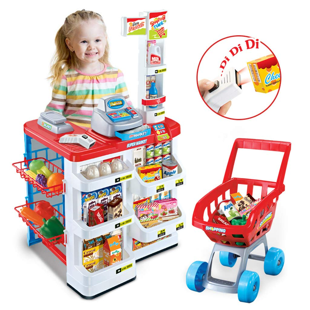 KAKALOR Supermarket Toy Register Stand Food Shopping Console Toy Pretend Grocery, Realistic Pretend Play w/ Lights and Sound