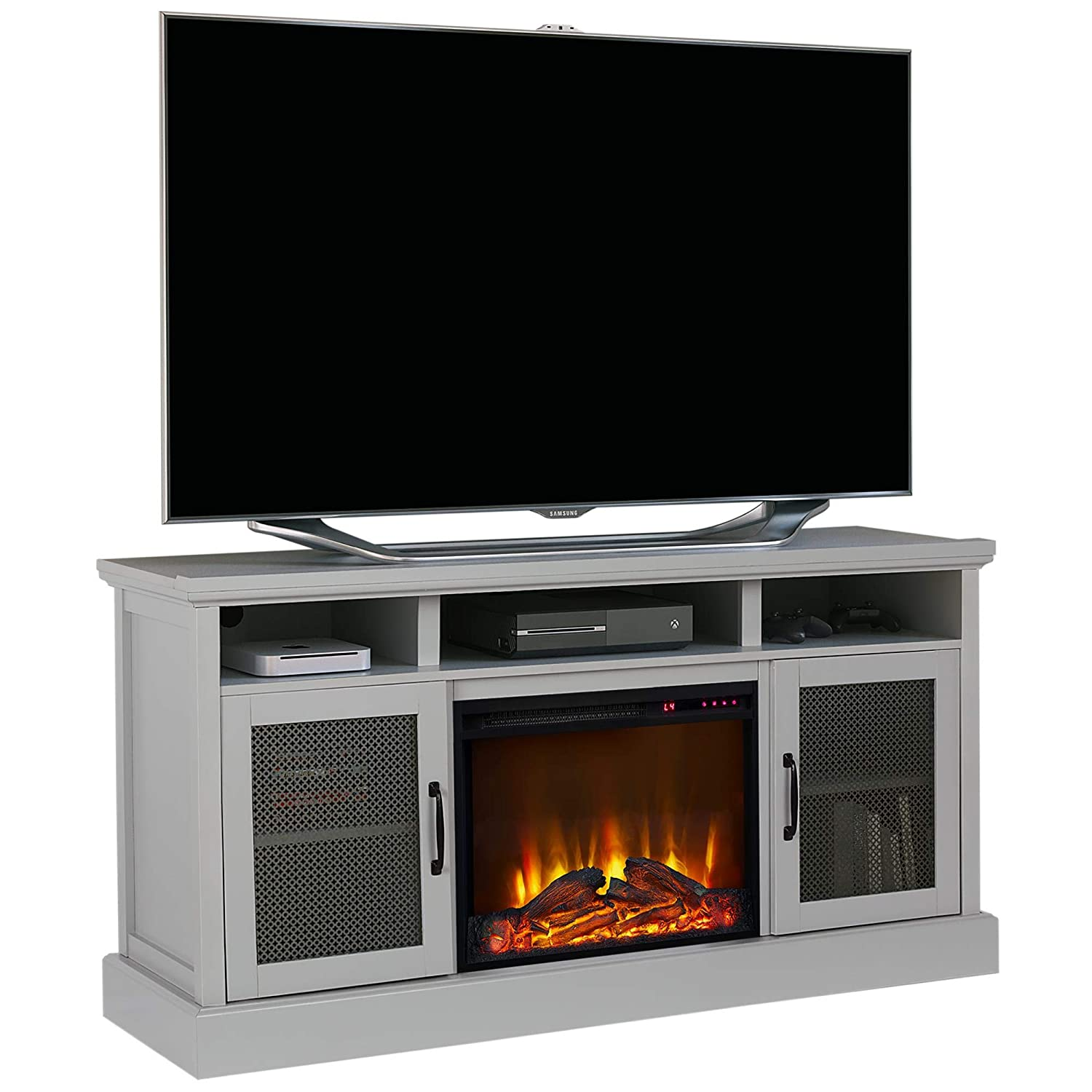 Amazon Com Ameriwood Home Cresthaven Tv Stand With Fireplace For