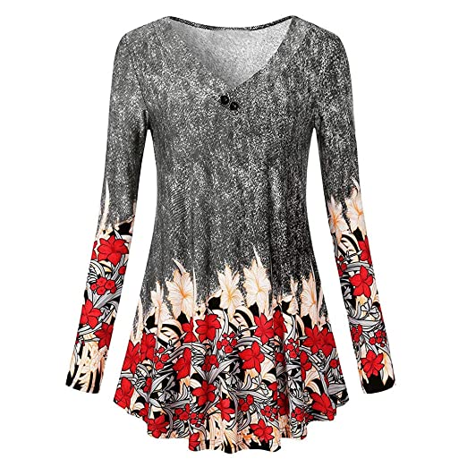57be8d5e492 TWGONE Tunic Dresses For Women To Wear With Leggings Long Sleeve Floral  Print Loose Blouse Shirt