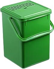Rotho 483325 Cubo para compost, de plástico, Negro, 27.2 x 21.4 x 20.4 cm, plástico, verde, 27.2 x 21.4 x 20.4 cm